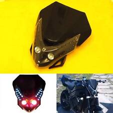 Universal Motorcycle LED Streetfighter Black Headlight Head Lamp Fairing Signals