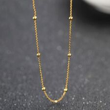 Authentic 18k Yellow Gold Chain Women Luck Beads With O Link Necklace 20inch