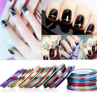 30 Rolls Mix Colors Striping Tape Line 1mm For Nail Art Decoration Sticker DIY