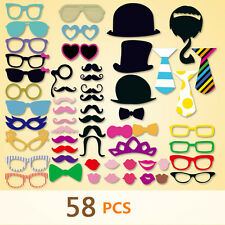 58Pcs Photo Booth Photobooth Wedding Props Birthday Christmas Party Prop DIY