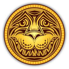 """Lion Head Golden Car Bumper Sticker Decal 5"""" x 5"""""""