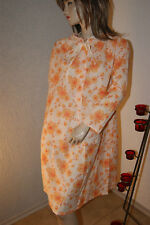 Vintage Langarm - Negligee Nachtkleid Kuschel weiß orange geblümt m94/ 46