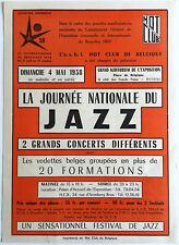 JACQUES PELZER JACK SELS 1958 jazz concert flyer HOT CLUB DE BELGIQUE EXPO 58