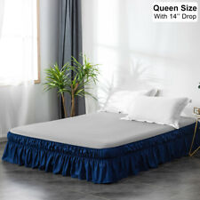 "New Listing14"" Drop Dust Ruffle Bed Skirt Easy Fit Wrap Around Bed Elastic Queen Size Blue"