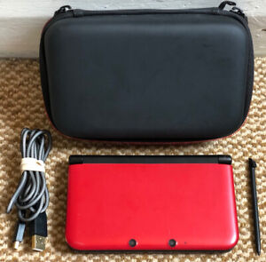 ❤️Nintendo 3DS XL🖤Red/Black Handheld Console, Stylus, USB Charging Cable & Case