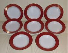 8 Mikasa Parchment L3471 Red Soup Plates