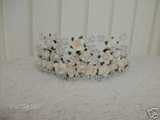 NEW WHITE OR IVORY 3 TIER ROSE WITH PEARLS/CRYSTALS