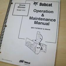 Bobcat Snow Blower 1412 Owner Operator Operation Maintenance Manual Book Guide