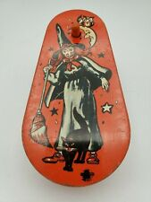 Vintage Halloween Metal Noise Maker with Wooden Handle. Witch, Moon-US Metal