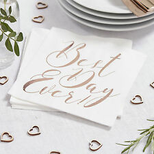 20 x BEST DAY EVER NAPKINS Rose Gold Wedding Tableware / Wedding Decorations