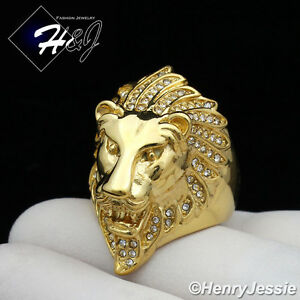MEN's Stainless Steel BLING CZ Silver/Gold Lion King Face Ring Size 8-13*R111