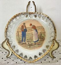 Milk Glass Plate Prayer Over Harvest Gold Edging Heart Shaped Border Farmhouse