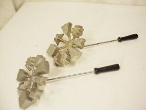Vtg 2 ROSETTE Iron Set 8 Shapes on 1 Handle Identical 2 Sets Cookie Maker Frship