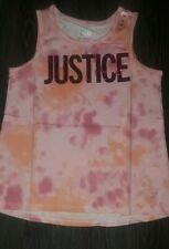 Girls justice glitter logo tye dye tank size 14/16 new pink/orange