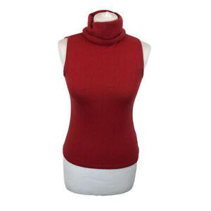 Jake*s Jake's Silk Cashmere Blend Sleeveless Polo High Neck Jumper Sweater Sz S