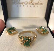 Gorgeous Vintage Ring & Earrings 11.5 Gr 14k Gold Diamond Baguettes & Emeralds