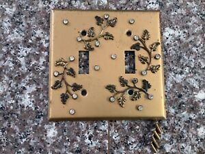 RARE! Gold Light Switch Plate Cover Faux Diamond Midcentury Double Shabby Chic