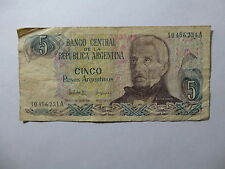 Old Argentina Paper Money Currency - #312 1983-84 5 Pesos Argentinos Well Circ.