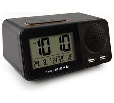 Precision Radio Controlled Alarm Clock Calendar Snooze Temperature Humudity USB