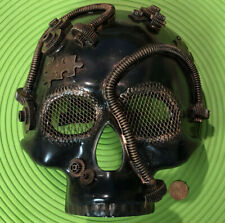 Steampunk Fantasy Aesthetic Skull Puzzle Designs Skull Burning Man Mask Bronze