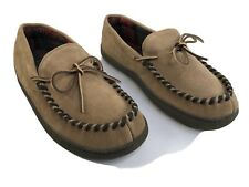 L.B. EVANS - Mens 10M Leather Upper / Flannel Lined MOCCASIN Slipper Shoes