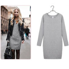 Women Winter Thick Thermal Warm Fleece Long Sleeve Slim Bodycon Dress Size 6-18 Deep Grey UK 6
