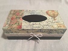 Handmade  wooden decoupaged tissue box with romantic, travel decor