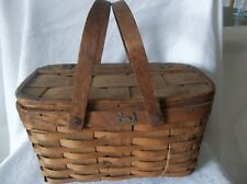 """Old collectible woven small Picnic Basket Hand Nailed 12"""" x 7"""" x 6 1/2"""""""