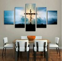 Jesus Cross 5 Pieces canvas Print Wall Art Picture Home Decor