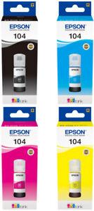Original Epson Drucker Tinte 104 EcoTank ET 2710 2711 2720 2726 4700 Set