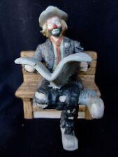 """Flambro Emmett Kelly Jr Clown """" Reading Newspaper """" Miniature Figurine"""