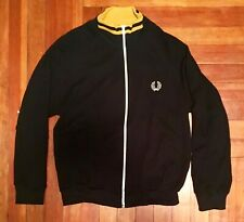 Fred Perry Yellow And Black Sport Track Jacket Sweater Wool Blend Size Medium