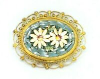 Vintage Gold Toned Micro Mosaic Floral Flowers Glass Blue White Pin Brooch