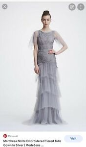 Marchesa Notte Silver/ grey gown 12 (US 8)