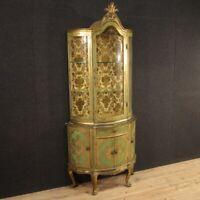 Vetrina in legno laccato e dorato stile antico libreria credenza mobile 900