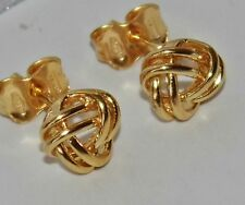UK HALLMARKED 9 CT YELLOW GOLD CELTIC KNOT LADIES STUD EARRINGS - (GE0092)