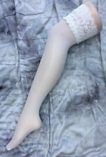 ladies pair of white fishnet fish net stockings hold ups Lace tops NEW, by Flirt