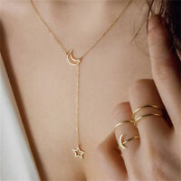 Women Simple Necklace Jewelry Long Pendant Gold Silver Moon Star Choker Chain S