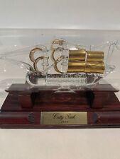 Mayflower Glass Cutty Sark Ship In A Bottle 24-karat Gold Sails