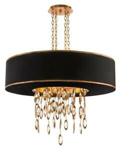 """36"""" W Chandelier Pendant Gold Trim Shade Suspended Metal Set Faceted Crystals"""
