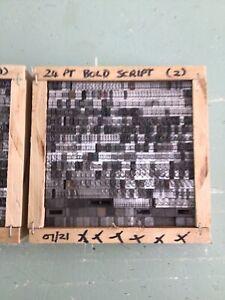 Letterpress Type 24 Point Bold Script