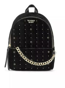 Victoria's Secret Velvet Stud Small City Backpack Black/Gold - NEW with tag