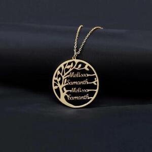 Halskette mit Stammbaum des Lebens Namen Anhänger aus 925 Silber Familienkette