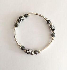 Chunky Sterling Silver & Hematite Gemstone Decorative Noodle Stretch Bracelet