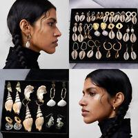 Fashion Beach Cowrie Sea Shell Conch Earrings Charm Drop Dangle Earring Jewelry