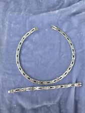Mexican Necklace And Bracelet Set Heavy Ultra Modern Sterling Silver