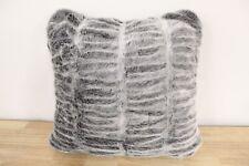 """Hudson Park 20"""" Square Decorative Pillow Sculpted Faux Fur CHARCOAL GREY D9Z225"""