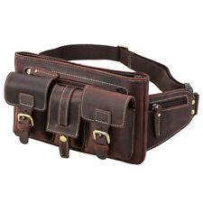 Vintage Men's Leather Bum Waist Belt Bag Fanny Pack Sports Travel Running Pouch