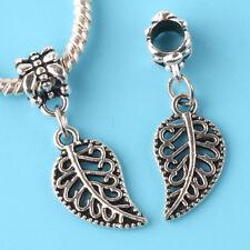 2pcs Tibetan silver Leaves Charm bead fit European Bracelet Pendant #F167