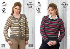 King Cole 4054 Knitting Pattern Cardigan & Sweater in Baby Alpaca DK and Cosmos